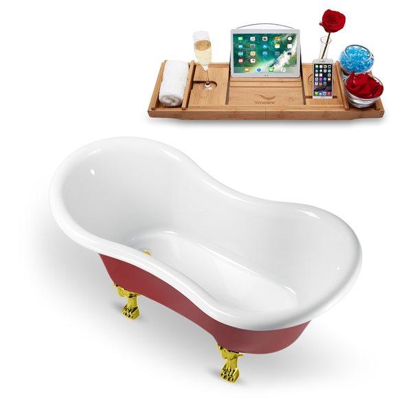 Baignoire sur pattes ovale en acrylique avec drain réversible et plateau de Streamline, 30,7 po x 62,2 po, rouge