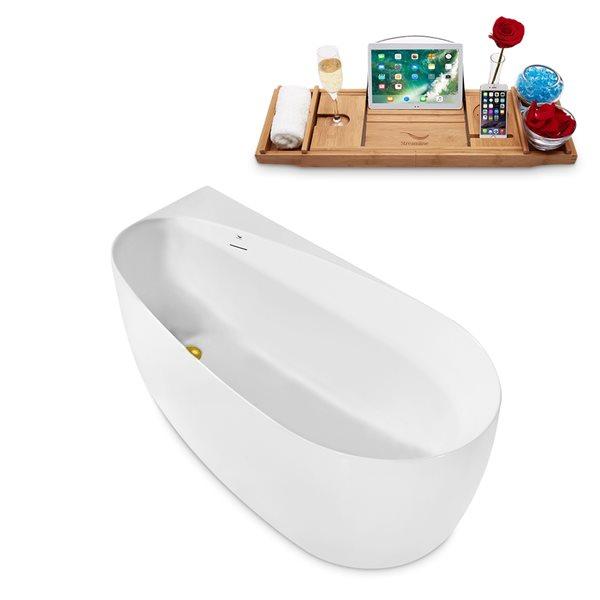 Baignoire autoportante ovale en acrylique avec drain réversible de Streamline, 28,7 po x 59,1 po, blanc