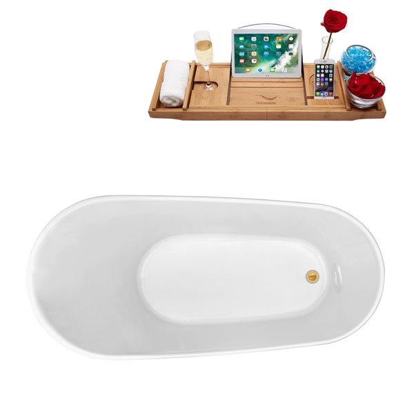 Baignoire autoportante ovale en acrylique avec drain réversible de Streamline, 27,6 po x 62,6 po, blanc