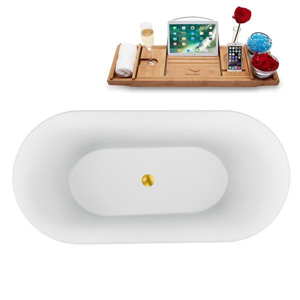 Baignoire autoportante ovale en acrylique avec plateau et drain centré de Streamline, 28,3 po x 59,1 po, blanc