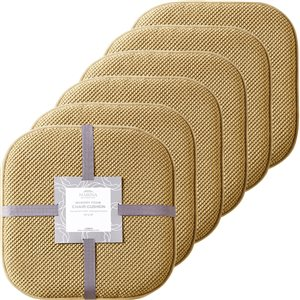 Marina Decoration Taupe Memory Foam Chair Pad Nonslip Rubber Cushion - 6-Pack