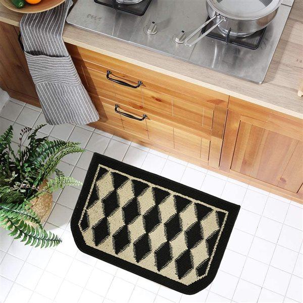 Tapis de cuisine noir antidérapant rectangulaire de 20 po x 48 po par Nova Home Collection, pierre ponce, ens. de 2