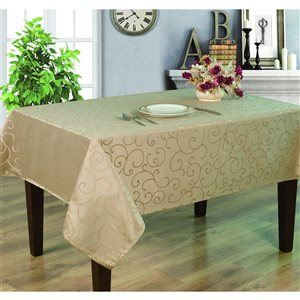Home Secret Indoor Taupe Table Cover 120-in x 60-in Rectangular