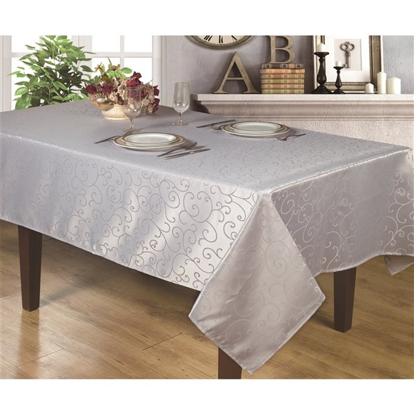 Home Secret Indoor Silver Table Cover 144-in x 60-in Rectangular