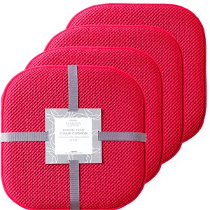 Marina Decoration Red Memory Foam Chair Pad Nonslip Rubber Cushion - 4-Pack