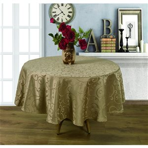 Home Secret Indoor Taupe Table Cover 90-in x 90-in Round