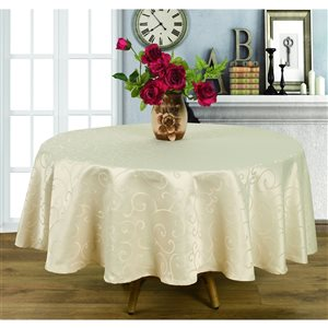 Home Secret Indoor Cream Table Cover 90-in x 90-in Round