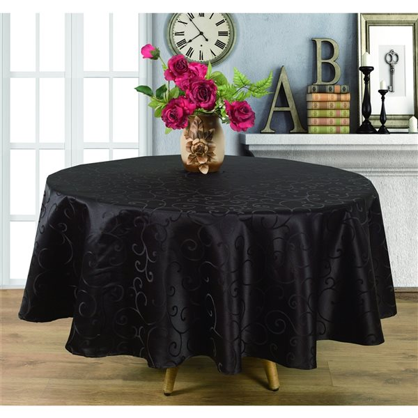 Home Secret Indoor Black Table Cover 70-in x 70-in Round