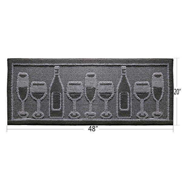 Tapis de cuisine noir antidérapant oblong de 20 po x 48 po par Nova Home Collection, verres de vin