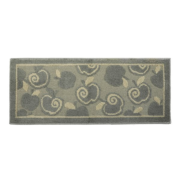 Nova Home Collection Non-Slip Soft 20-in x 48-in Kitchen Rug Mat, Silver Apple, Oblong Shape