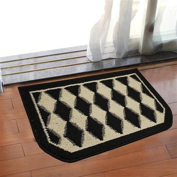Nova Home Collection Non-Slip Soft 18-in x 30-in Kitchen Rug Mat, Black Pumice, Half Moon Shape
