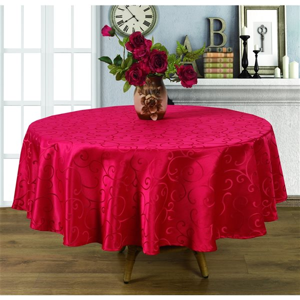 Home Secret Indoor Red Table Cover 90-in x 90-in Round