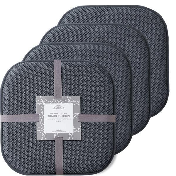 Coussinet de chaise grise en mousse à mémoire et caoutchouc antidérapant de Marina Decoration, ens. de 4