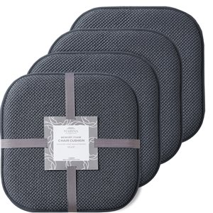 Marina Decoration Grey Memory Foam Chair Pad Nonslip Rubber Cushion - 4-Pack