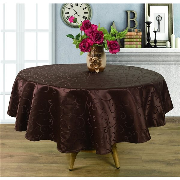 Home Secret Indoor Brown Table Cover 90-in x 90-in Round