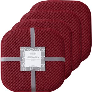 Marina Decoration Burgundy Memory Foam Chair Pad Nonslip Rubber Cushion - 4-Pack