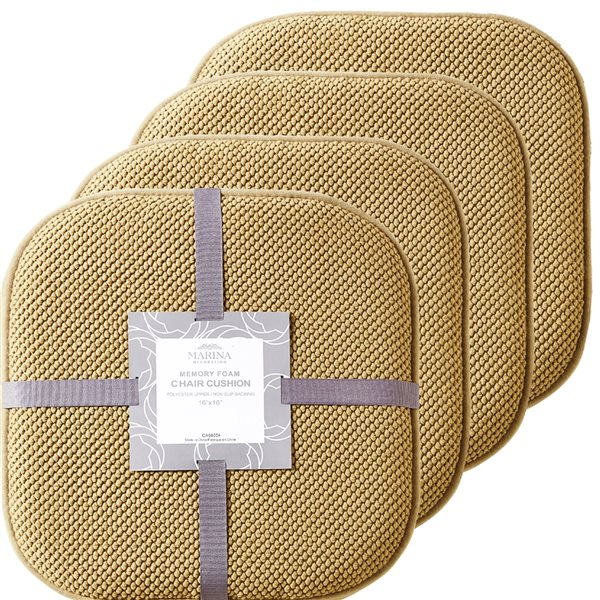Marina Decoration Taupe Memory Foam Chair Pad Nonslip Rubber Cushion - 4-Pack