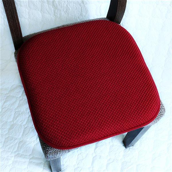 Coussinet de chaise bourgogne en mousse à mémoire et caoutchouc antidérapant de Marina Decoration, ens. de 2