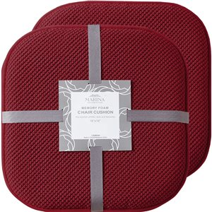 Marina Decoration Burgundy Memory Foam Chair Pad Nonslip Rubber Cushion - 2-Pack