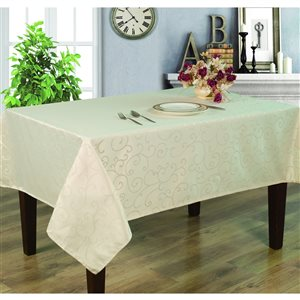 Home Secret Indoor Cream Table Cover 102-in x 60-in Rectangular