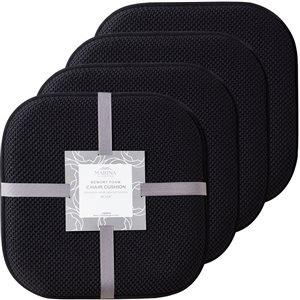 Marina Decoration Black Memory Foam Chair Pad Nonslip Rubber Cushion - 4-Pack