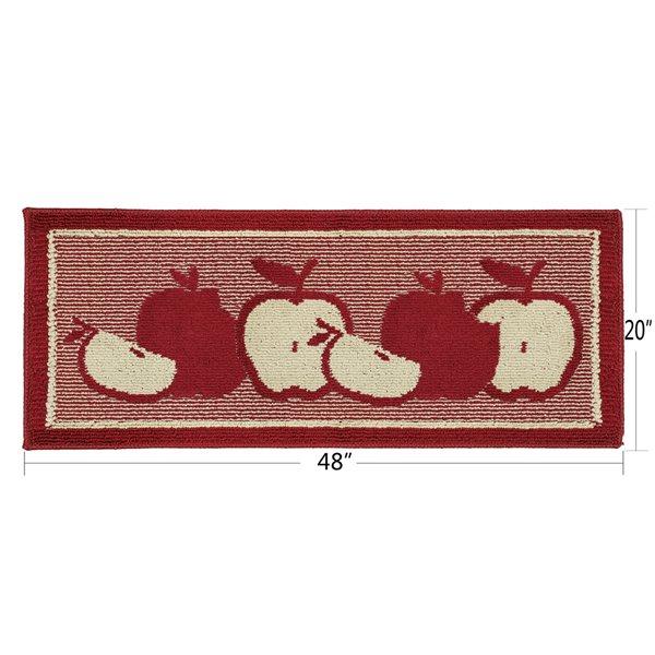 Tapis de cuisine rouge antidérapant oblong de 20 po x 48 po par Nova Home Collection, pomme