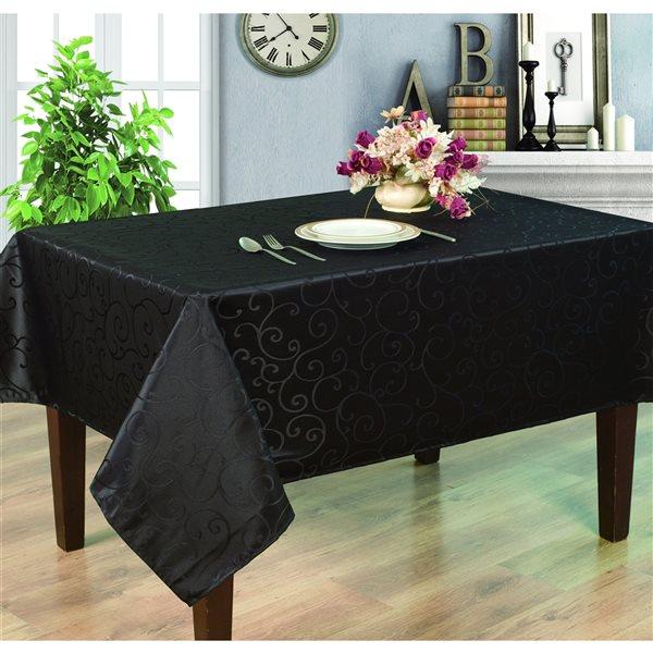 Home Secret Indoor Black Table Cover 102-in x 60-in Rectangular