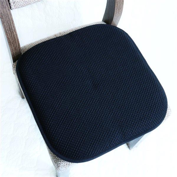 Coussinet de chaise noir en mousse à mémoire et caoutchouc antidérapant de Marina Decoration, ens. de 2