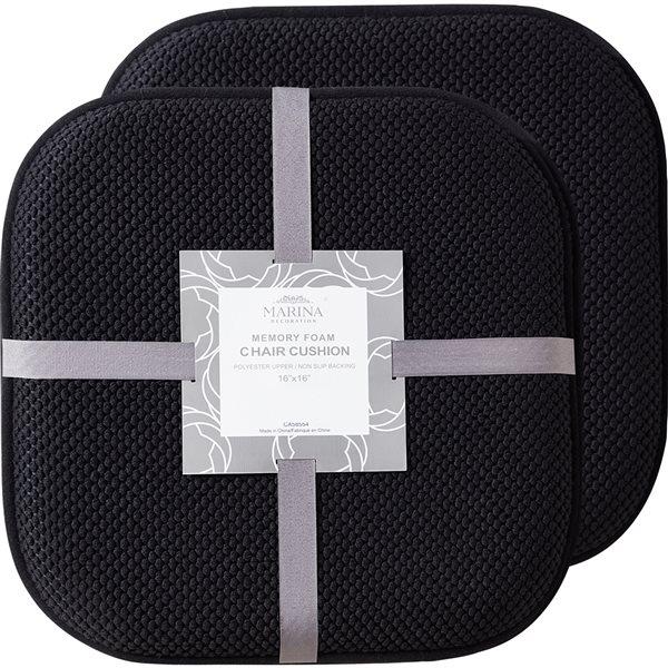 Marina Decoration Black Memory Foam, Memory Foam Chair Pad 2 Pack
