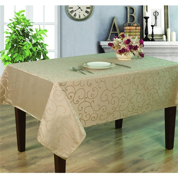 Home Secret Indoor Taupe Table Cover 144-in x 60-in Rectangular