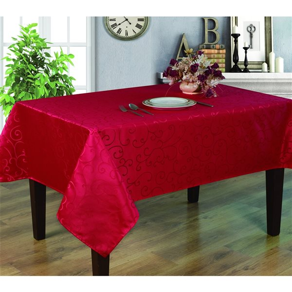 Home Secret Indoor Red Table Cover 70-in x 52-in Rectangular