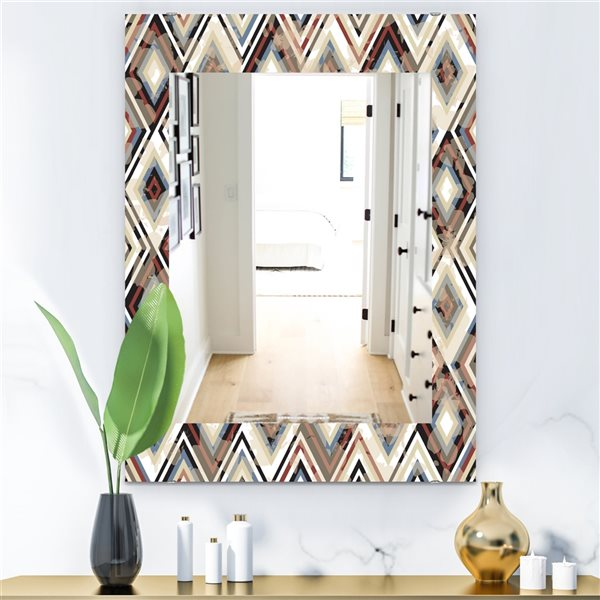 Designart Canada 35.4-in L x 23.6-in W Rectangle Blue and Brown Vintage Diamond Pattern Polished Wall Mirror