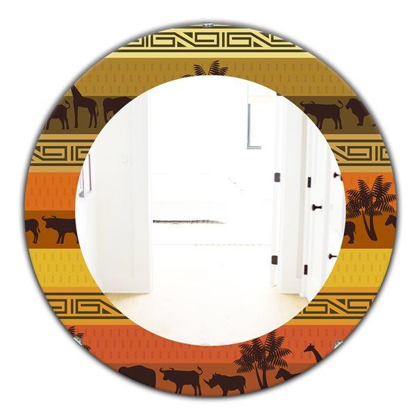Designart Canada 24-in L x 24-in W Round African Wildlife Polished Wall Mirror
