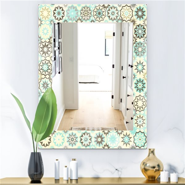 Designart Canada 35.4-in L x 23.6-in W Rectangle Turquoise and Yellow Vintage Snowflakes Polished Wall Mirror