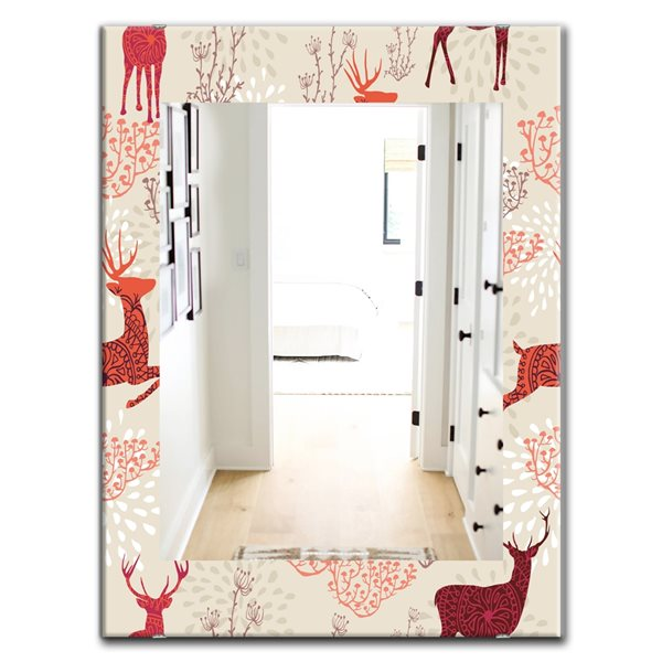 Designart Canada 35.4-in L x 23.6-in W Rectangle Patterned Christmas Deers Polished Wall Mirror