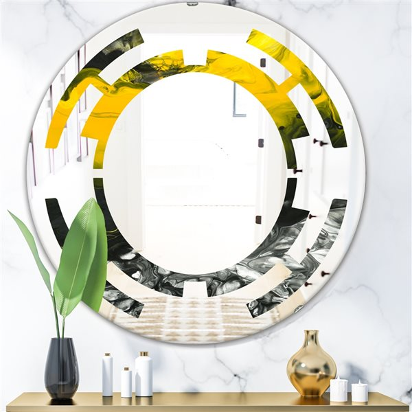 Designart Canada 24-in L x 24-in W Round Marbled Yellow and Black Modern Polished Wall Mirror