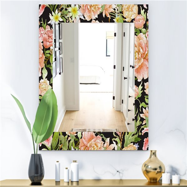 Designart Canada 35.4-in L x 23.6-in W Rectangle Obsidian Bloom Traditional Polished Wall Mirror