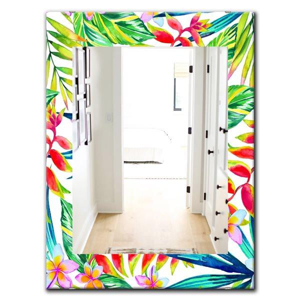 Designart Canada 35.4-in L x 23.6-in W Rectangle Multicolour Tropical Mood Bright Polished Wall Mirror
