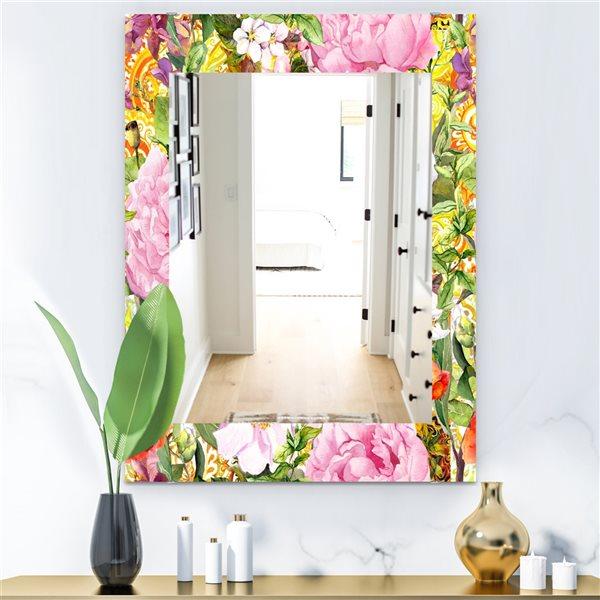 Designart Canada 35.4-in L x 23.6-in W Rectangle Multicolour Blossom Flowers Polished Wall Mirror