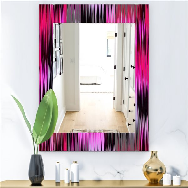Designart Canada 35.4-in L x 23.6-in W Rectangle Black and Purple Ikat Polished Wall Mirror