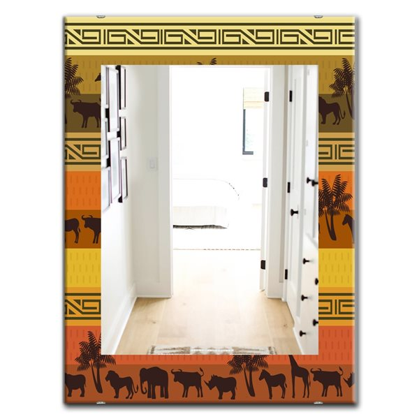 Designart Canada 35.4-in L x 23.6-in W Rectangle African Wildlife Polished Wall Mirror