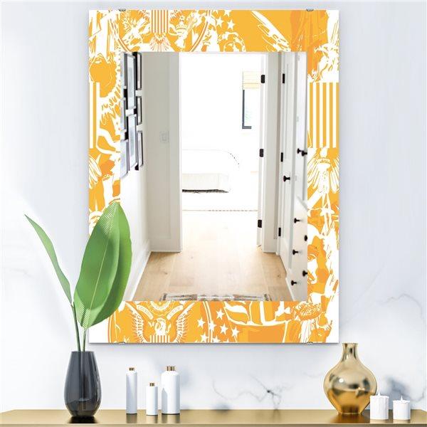 Designart Canada 35.4-in L x 23.6-in W Rectangle Retro Us Statue of Liberty Eagle Polished Wall Mirror