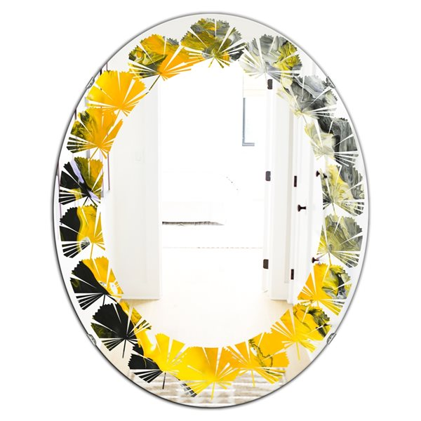 Designart Canada Oval 23.7-in W x 31.5-in L Marbled Yellow and Black Polished Wall Mirror