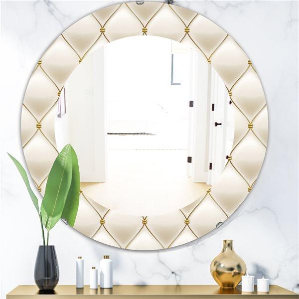 Designart Canada 24-in L x 24-in W Round Fancy Leather Sofa Polished Wall Mirror