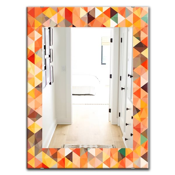 Designart Canada 35.4-in L x 23.6-in W Rectangle Triangular Colourfields Traditional Polished Wall Mirror