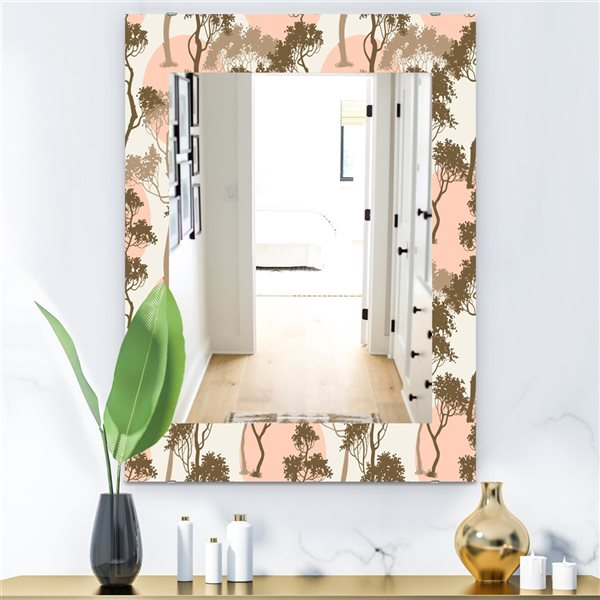 Designart Canada 35.4-in L x 23.6-in W Rectangle Trees Under The Full Moon In Forest Polished Wall Mirror