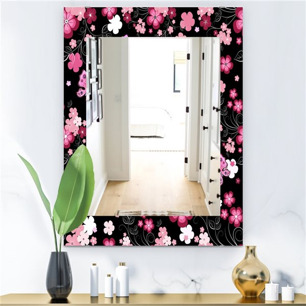 Designart Canada Rectangle 35.4-in L x 23.6-in W Pink Obsidian Bloom Traditional Polished Wall Mirror