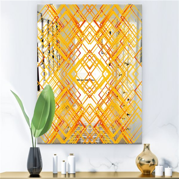 Designart Canada 35.4-in L x 23.6-in W Gold Rectangle Polished Wall Mirror