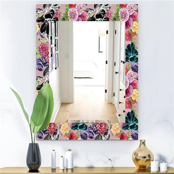 Designart Canada 35.4-in L x 23.6-in W Rectangle Multicolour Blossom Polished Wall Mirror