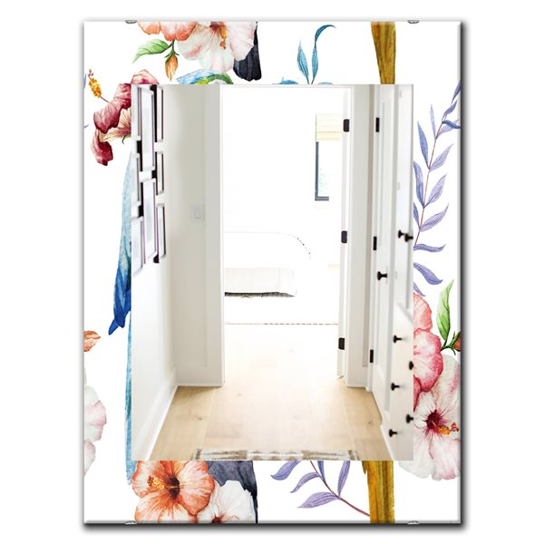 Designart Canada Rectangle 35.4-in L x 23.6-in W Pink Blossom Bohemian Polished Wall Mirror